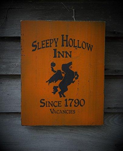 Wood Sign Primitive Sleepy Hollow Inn Sign Halloween Decoration