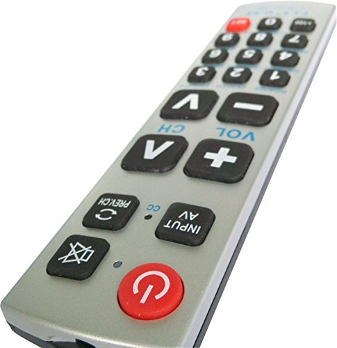 Gmatrix Best Big Button Universal Remote Control Vizio Lg Sharp A-tv2, Initial Setting for Lg, Vizio, Zenith, Panasonic, Philips, RCA - Put Battery to Work, No Program Needed