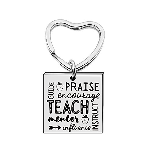 Key Chain Ring Teacher Gifts Birthday Women Girl - Teach Praise Mentor Encourage Guide -