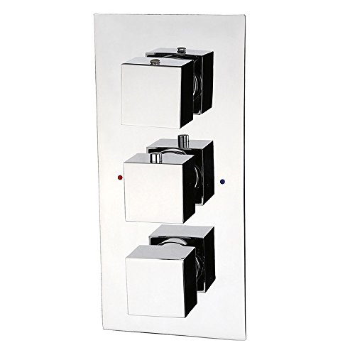 Lovedima Modern Concealed Solid Brass Shower Valve & Trims in Chrome, with Triple Knobs (Thermostatic, 3-Function) Lovedima