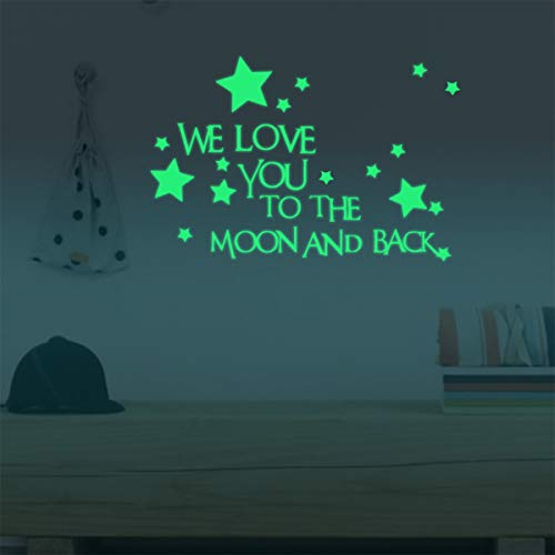Nursery Wall Decals Luminous Words Sticker at Night - WE Love You to The Moon and Back - Words Glow in The Dark with Stars Around Wallpaper for Kids Bedroom Ceiling Ceiling Wall Baby Nursery Room