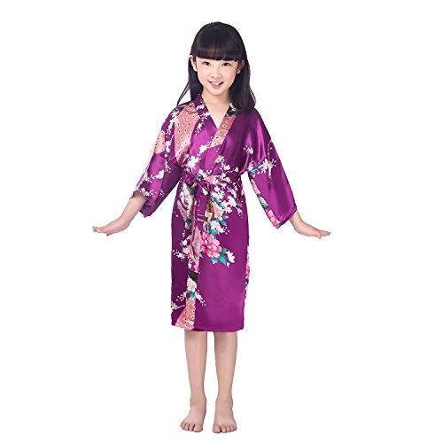 Awind Girls' Satin Kimono Wrap Robe Flower For Spa Party Christmas, Dark Purple, Size -