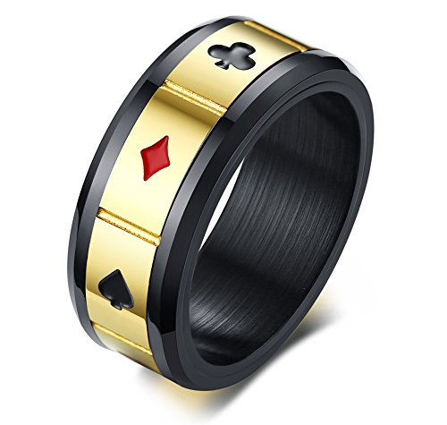 Mens Black Aces Poker Band Stainless Steel Playing Cards Game Spinner Ring,Gambling Jewelry