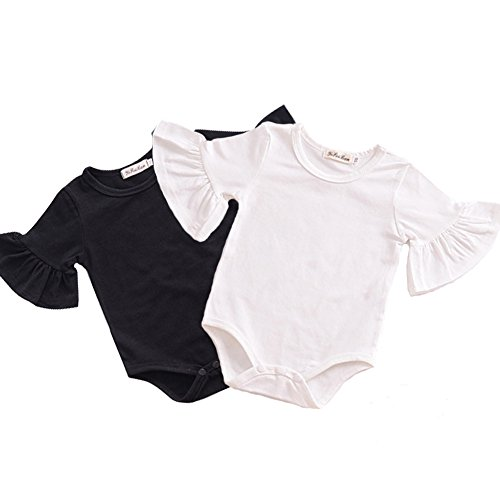 Y·J Back home Black White Onesie,Baby Girls One Piece Shirt Ruffle Short Sleeve Bodysuit Infant Cotton Body Suit Newborn Solid Outfit 2 Pack Toddler Clothes Summerr,3-6 (Black White Suit)