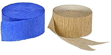 Red+Blue+Gold Metallic 435 FEET Total Made in USA Gold Metallic Crepe Paper Combinations
