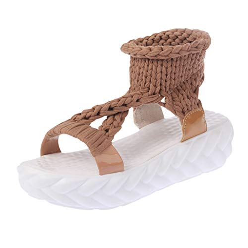(Women Knit Sandals, NDGDA Solid Color Casual Shoes Lazy Sponge Cake Shoes Clearance Sale)