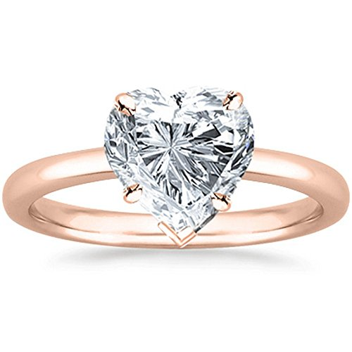 0.46 Ct GIA Certified Heart Cut Solitaire Diamond Engagement Ring 14K Rose Gold (G Color SI2 Clarity) ()