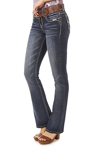 Wide Belted Jeans (WallFlower Juniors Belted Legendary Bootcut Jeans in Kagan)