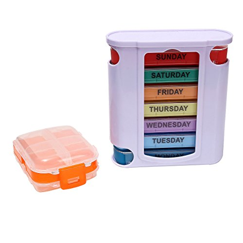 UPC 646040329475, Pill Organizer With Weekly Case 7 Single Colorful Medicine Box 4 Times a Day, Including Extra Larger Container by Veskaoty Orange