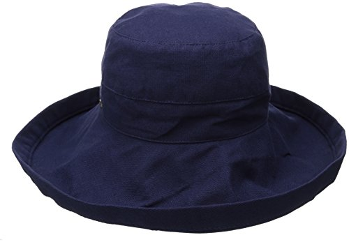 Scala Women's Cotton Big Brim Ultraviolet Protection Hat with Inner Drawstring, Navy, One Size
