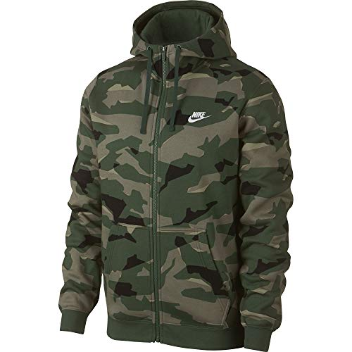 (Nike Mens Club Camo Basketball Full Zip Hoodie Cargo Khaki/White AJ2105-325 Size Medium)