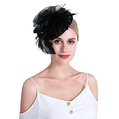 inSowni Flower Tea Party Sinamay Fascinators Hat Cap Feather Mesh Headband Clip for Women Girls (Black S2) by inSowni