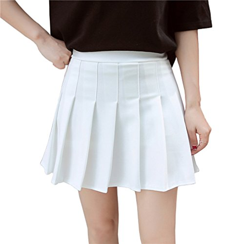 Hoerev Women Girls Short High Waist Pleated Skater