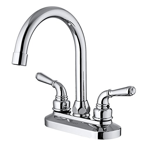 JOMOO Two Handle 4 Inch Centerset Bathroom Sink Faucet Deck Mounted High Arc Bathroom Lavatory Faucet Basin Mixer Taps With Lever Handle Vintage (Style Centerset Faucet)