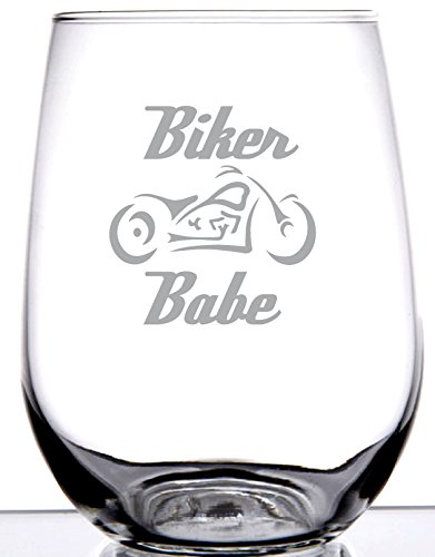 IE Laserware Biker Babe Laser Etched Engraved Wine Glass, 17 Ounce Stemless Wine -