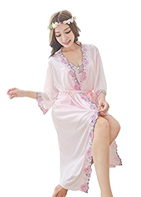 Camellia12 Silk Gorgeous Slip & Robe Set,2PC Long Sleepwear & Floral Lace Trim