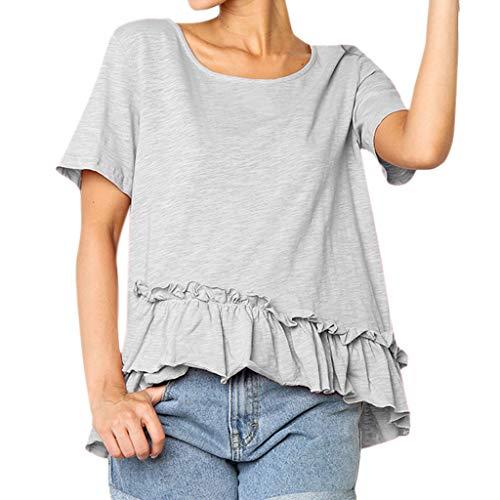 Willow Ruffle Shirt - Willow S Women Fashion Elegant Casual Ruffles Solid Short Sleeve Irregular Hem Tank Loose Top T-Shirt Blouse Gray