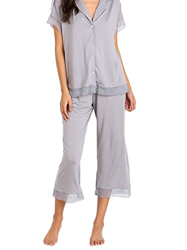 Eberjey Women's Standard Adela S/Slv Cropped Pj Set, Misty Grey, Small