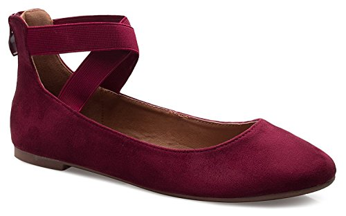 ANNA Dana-20 Women's Classic Ballerina Flats with Elastic Crossing Straps (7.5 B(M) US, -