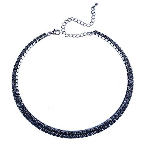 Stuffwholesale Rhinestone Choker Necklace Jet Double Rows Cup Chain Women Jewelry (Hematite/Jet)