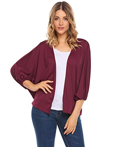 Dolman Sleeve Shrug - Zeagoo Women Casual 3/4 Sleeve Knit Open Front Shrug Cardigan Dolman Sleeve Jacket Wine Red XL