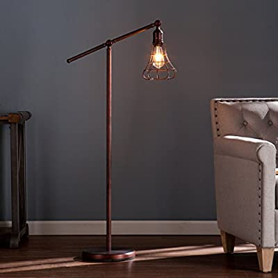 Steel Teige Floor Lamp (OS2415TL). With Rustic Edison Styled Led 150 W Bulb, A Pulley System With An Adjustable Lever That Rotates A Full 360 Degrees. Finish In Copper, Bronze.