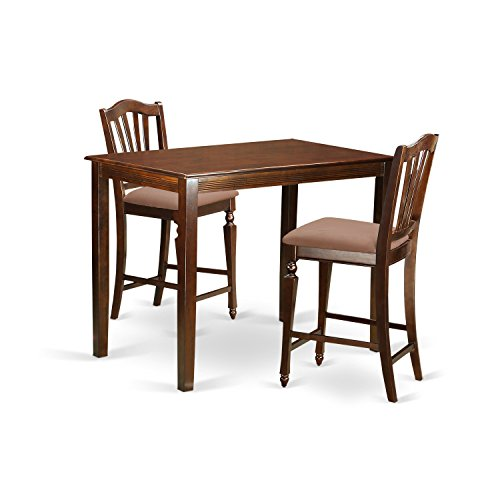 East West Furniture YACH3-MAH-C 3 Piece Counter Height Table and 2 Kitchen Chairs Set
