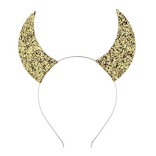 Daisyu Girls Devil Horn Halloween Headband Costume Cat Ear Headband (gold) ()