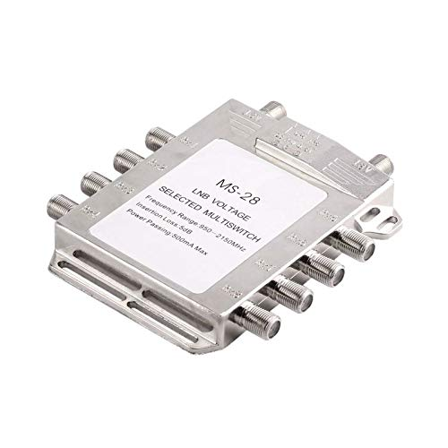 Portable 2x8 Satellite Signal Multiswitch 950-2150MHz LNB Voltage Selected Switch Low Loss LNB Receiver ()