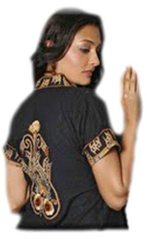 Damen Stickerei Tunika Shirt. Bestickt Boho Schwarz Partei zu tragen Shirt