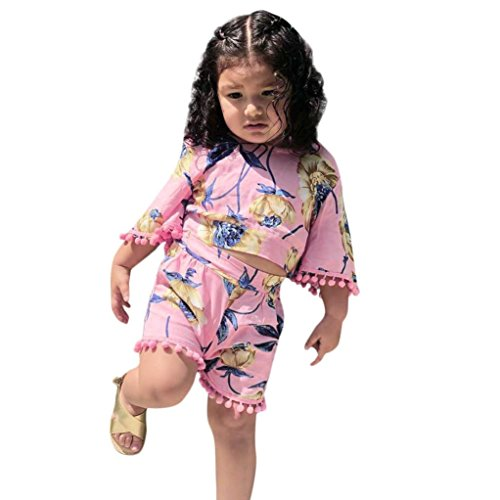 Dinlong 2Pcs Baby Girls Clothes Set Flower Print Flare Sleeve Bandages Tops T-Shirt+Shorts Pants (2-3 T, Pink) (T-shirt Set Sleeve)