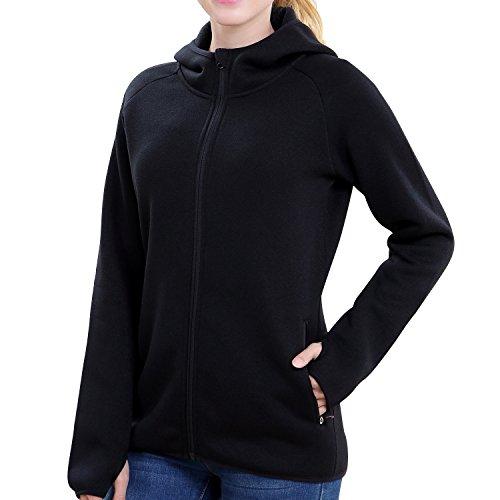 Womens Knit Jacket Active Outdoor Full-Zip Coat Fleece Lined Hooded Outwear(Black (Fleece Lined Coat)