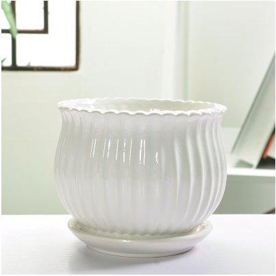 Ceramic Home/ Garden Modern Round Flower Pot with Saucer Tray, White Stripe Design