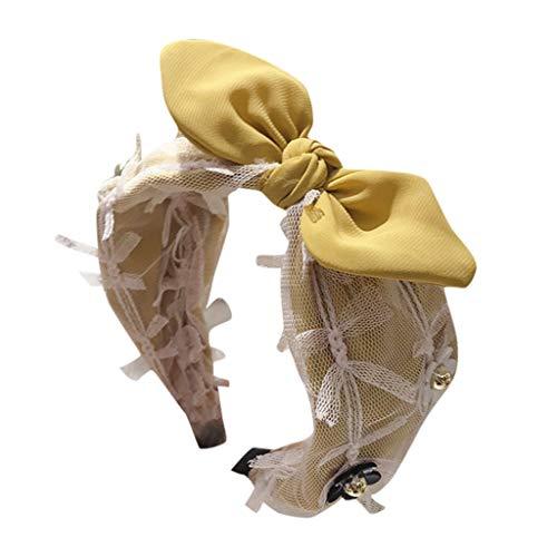 Iusun Hairband Bow Unedged Mesh Rabbit Ears Flowers Vintage Wide Hair Head Hoop Hairpin Accessory Women Girls Jewelry Decoration Headband Headwear -