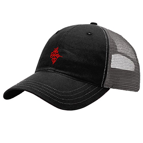 Poker Cotton Hat - Game Poker Card Suits Logo Embroidery Unisex Adult Snaps Cotton Richardson Front and Mesh Back Cap Hat - Black/Charcoal