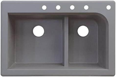 33-in x 22-in x 9-in Transolid RTDJ3322-17-CBDEF Radius Granite 5-Hole Drop-in Double-Bowl Kitchen Sink Grey