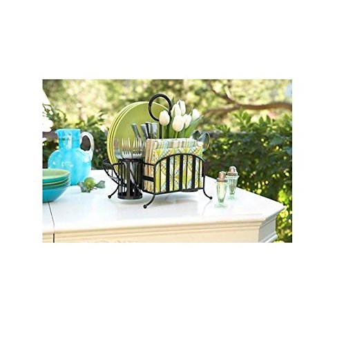 Mesa Home Delaware Picnic Caddy in Black with Brushed Copper 6136-02-01