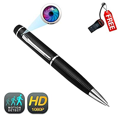 Pen Camera GEAGLE 1080p HD Hidden Spy Camera Pen   External Memory   Motion Detection   Night Vision   + USB Card Reader + 5 Ink Refills by GEAGLE
