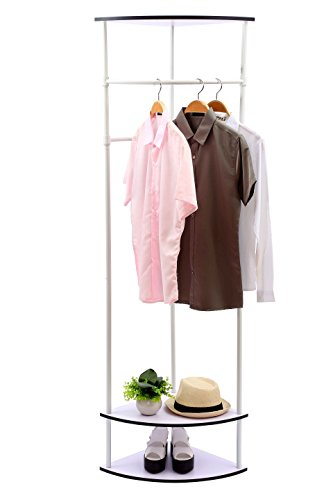 Corner Towel Bar - MULSH Clothing Rack Multi-Functional Corner Garment Rack Coat Rack with Hanger and 2-Tier Durable Shelf for Shoes Clothes Storage