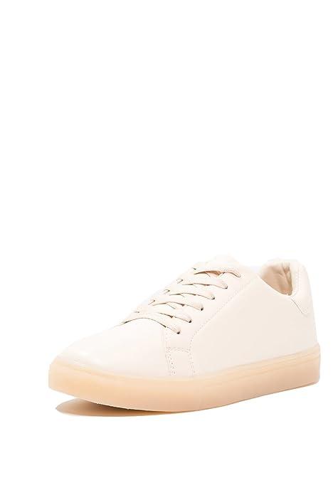 Even&Odd Sneaker Damen Weiß, Silber, Rosa Nude o. Schwarz, Uni – TurnschuheSneakers für Frauen Metallic Schuhe FlachLow Top Trainers mit