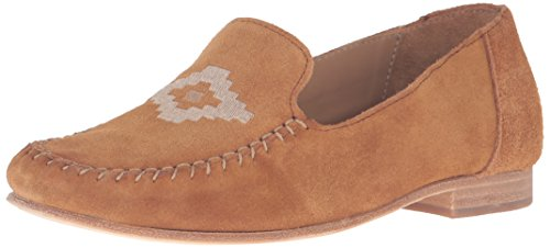 Soludos Women's Flat Embroidered Moccasin, Saddle, 8 M US