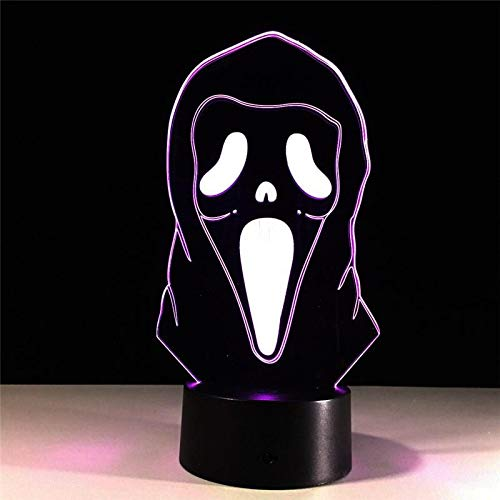 Halloween Mask 3D Illusion Lamp Colorful Gradient Atmosphere Lamp Lighting 3D Led Night Light 3D Night Light, 3D Lamps 7 Color Change Visual Gift for Kids Home Decor]()