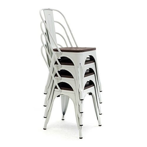 BELLEZE Retro Set of (4) Metal Industrial Stackable High Back Wood Seat Bistro Patio Dining Chairs Cafe Bar Stool,Grayish White