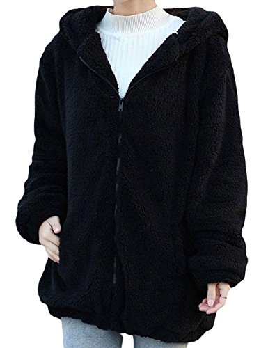 Girl's Winter Warm Bear Ear Hooded Coat Loose Fluffy Jacket With Cute Bear Tail (XXL, (Cute Teddy Pictures)