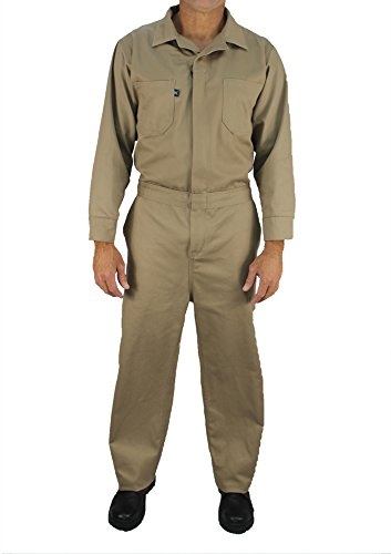 - Kolossus Deluxe Long Sleeve 100% Cotton Coverall with Multi Pockets and Antistatic Zipper … (Khaki, X-Large)