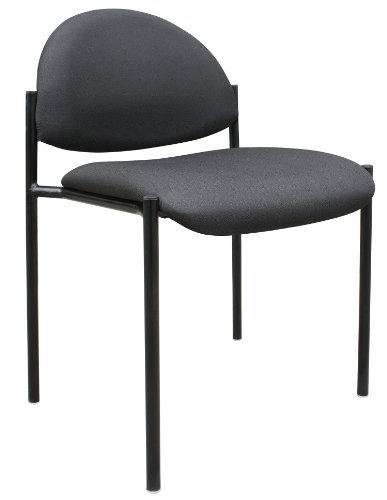 Boss Office Products B9505-BK Dimond Fabric Stacking Chair in Black