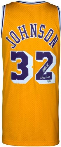 "Magic Johnson Los Angeles Lakers Autographed Gold Mitchell & Ness Hardwood Classics Swingman Jersey with""Showtime"" Inscription Fanatics Authentic Certified"
