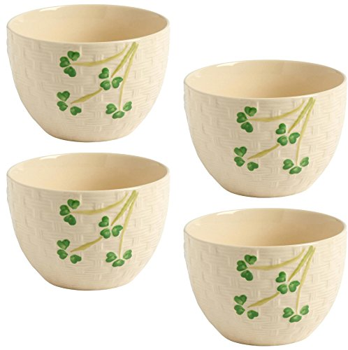 Celtic Classics Irish Shamrock Basketweave Clover Soup/Cereal Bowls, 32-ounce, Set of 4