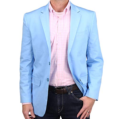 Mens Casual Blazer Sport Coat Jacket (Sky Blue, 42 Regular)