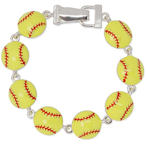 Fold Over Magnetic Clasp (Yellow and Red Softball Sports Bracelet with Fold Over Magnetic Clasp)